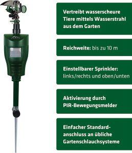 Gardigo Wasserstrahl Tiervertreiber Features